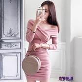包臀洋裝 2019初秋季新款女裝時尚氣質v領長袖修身顯瘦包臀緊身性感連衣裙 新年特惠