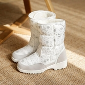 媽媽短靴 2020新款冬季雪花雪地靴冰雪面扣防水女式加絨保暖中筒靴棉靴【免運】