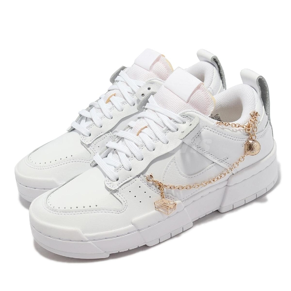 Nike 休閒鞋 Dunk Low Disrupt 白 全白 女鞋 金吊飾 解構 厚底 【ACS】 DO5219-111