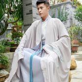 【免運】改良日常漢服男云紋繡花 傳統外套cp情侶裝大袖袍套裝男 隨想曲
