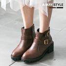 踝靴-MIT個性寬帶粗跟短靴【XW2693】 舒適軟皮穿脫自在 最佳增高粗中跟設計