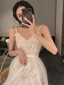 亮片裙 春季亮片V領吊帶連身裙港味chic氣質仙女裙中長款網紗裙 夏季上新