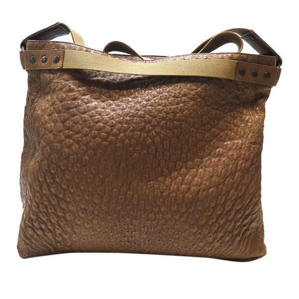 BOTTEGA VENETA 寶緹嘉 棕色鴕鳥皮托特包肩背包Ostrich Bag 【BRAND OFF】