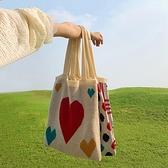 側背包韓版超火泫雅風側背包愛心針織手提包流行包包女學生 麗人印象 全館免運