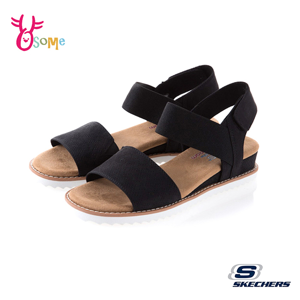 Skechers涼鞋 女款涼鞋 休閒涼鞋 BOBS DESERT 穿搭涼鞋 低跟涼鞋 柔軟Q彈 U8204#黑色◆OSOME奧森鞋業