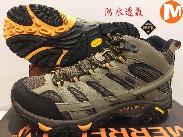 MERRELL Gore-Tex 黃金大底 中高筒 登山鞋/ 郊山鞋 ML06057W (3E 寬楦)(男) 買就送排汗透氣襪