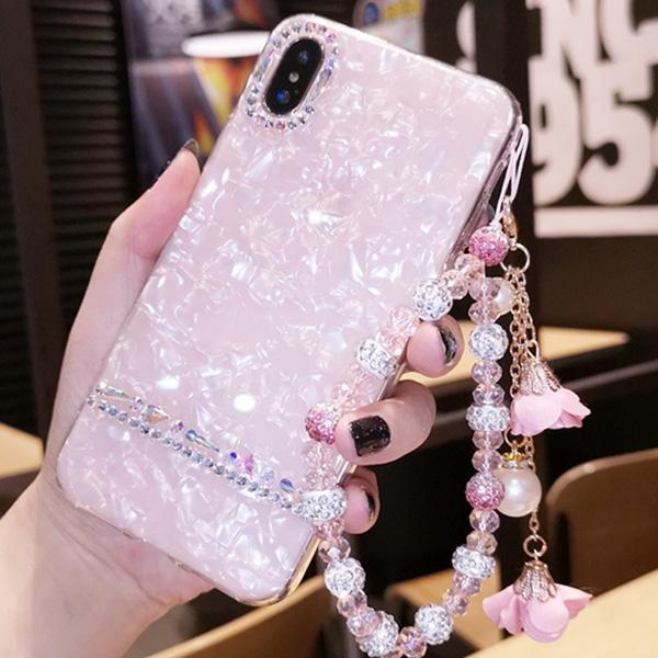 蘋果 iPhoneX iPhone8 Plus iPhone7 Plus iPhone6s Plus 花朵手繩貝殼紋 附短繩 手機殼 貼鑽殼 軟殼