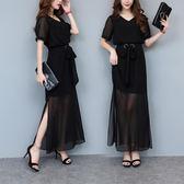大呎碼洋裝加肥加大碼新款藏肉顯瘦胖mm連衣裙 JD3878【男人與流行】