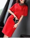 (現貨+預購 RN-girls)-精品精緻水鑽領飛袖短袖洋裝小禮服