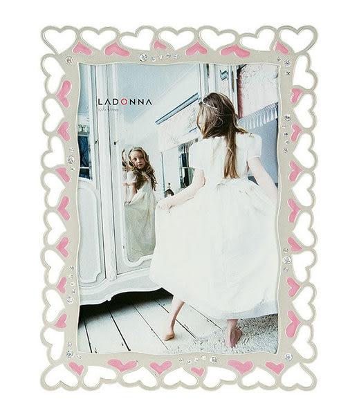 【筆坊】Ladonna Bridal 幸福環繞愛心鏤空水晶水鑽5x7結婚相框(MJ43-2L-WH/MJ43-2L-PK)-現貨供應