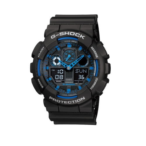 CASIO G-SHOCK/大錶殼雙顯運動錶/黑*藍/GA-100-1A2DR