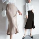 高腰春夏季女緞面荷葉邊半身裙2021新款一步包臀裙魚尾中長款包裙【快速出貨】