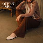Queen Shop【04070048】基本純色素面鬆緊針織長褲 兩色售 S/M*現+預*