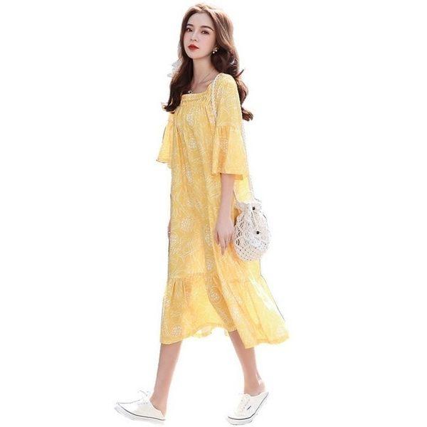 漂亮小媽咪 魚尾洋裝 【D2500】 清新 喇叭袖 五分袖 修身 顯瘦 魚尾裙 孕婦裝 孕婦洋裝