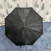 日本加厚刺繡布小洋傘 暗黑系低調剪影花 復古木柄手動遮陽長柄傘 伊芙莎YYS