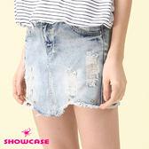 【SHOWCASE】手感刷破鉚釘牛仔短窄裙(藍)