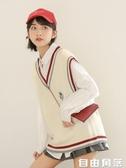 2020韓版新款學院風bf馬甲女背心V領學生百搭針織毛衣外套女馬夾  自已角落