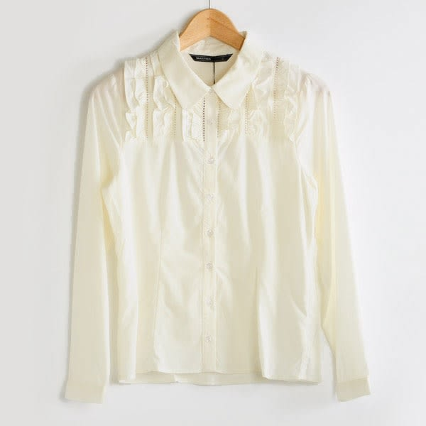【MASTINA】多荷葉邊造型襯衫-白  秋裝限定嚴選