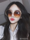 韓版墨鏡女 潮 防紫外線長臉顯瘦復古大圓形眼鏡 太陽鏡 洛小仙女鞋