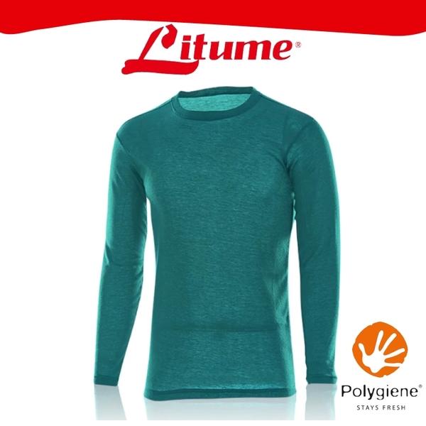 【Litume 意都美 男 刷絨彈性保暖衣《藍綠》】KJ003W/內層衣/圓領/內刷毛/抑臭/快乾