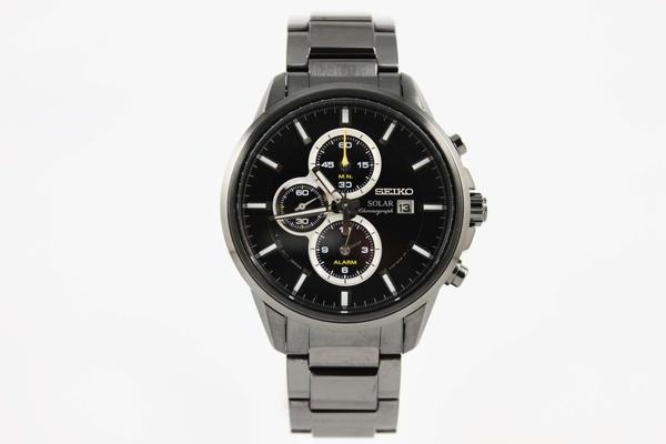 [萬年鐘錶]  SEIKO  時尚休閒風 太陽能計時腕錶 黑面+黑鋼 V172-0AR0SD  (SSC257P1)