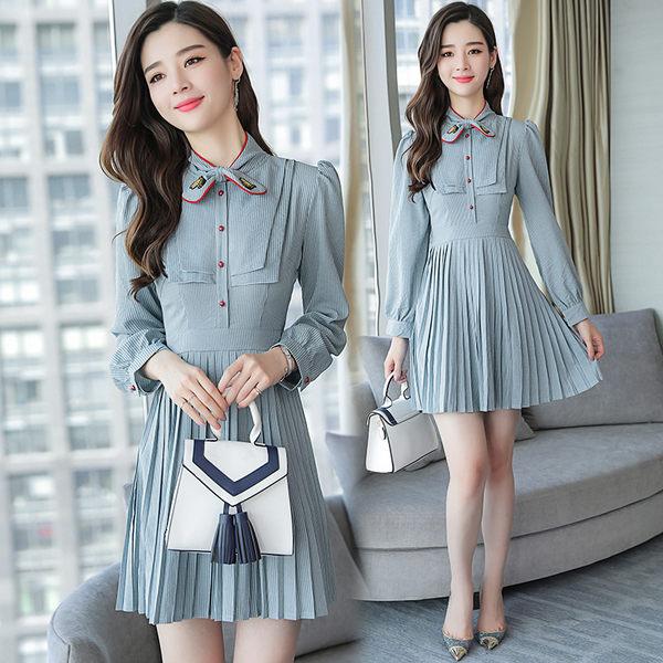 VK旗艦店 韓國學院風復古條紋顯瘦百褶學生長袖洋裝
