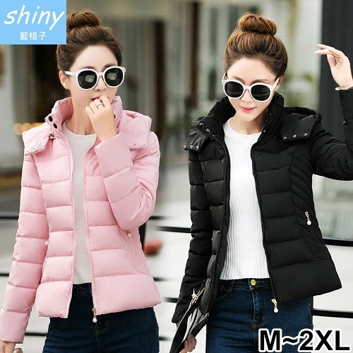【V9390】shiny藍格子-輕熟保暖.冬季時尚顯瘦短款輕羽絨棉襖外套