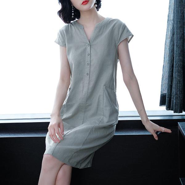 棉麻洋裝 亞麻連衣裙2021新款夏季v領寬鬆大碼胖mm顯瘦遮肚子減齡棉麻裙子 歐歐