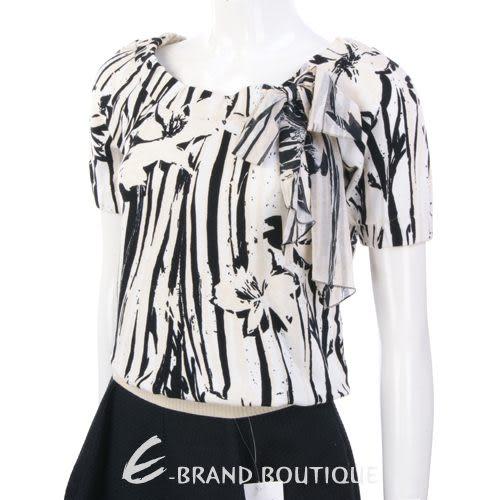 ANNA MOLINARI 米/黑色花卉圖紋短袖上衣 0710270-01