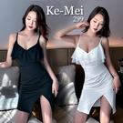 克妹Ke-Mei【AT65338】PARTY女王派對併接垂紗開叉收腰吊帶洋裝