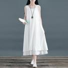 中國風無袖雙層裙子棉麻大擺裙亞麻長款打底洋裝文藝范背心長裙 格蘭小鋪