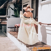 沙灘度假寬松女性感長袖防曬衣比基尼罩衫開衫外搭大碼泳裝品牌【小桃子】