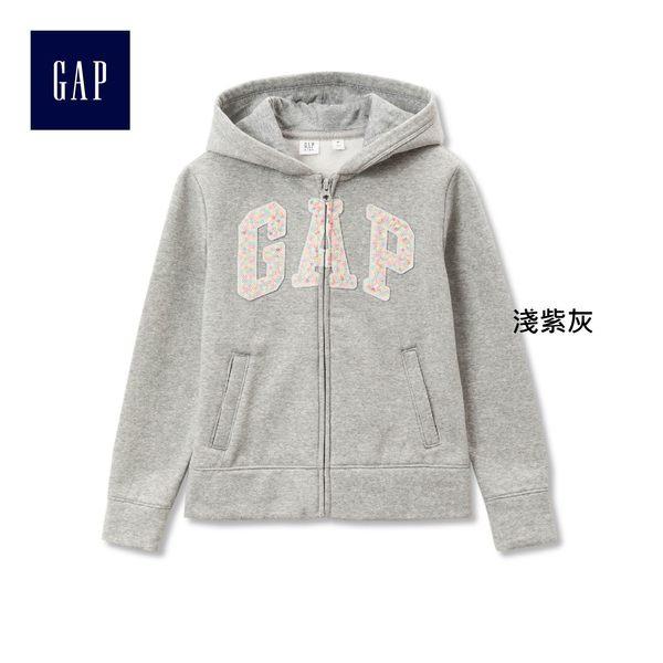 Gap女童 Logo系列活力風格連帽長袖休閒外套 282149-淺紫灰