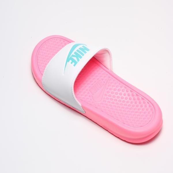 NIKE BENASSI JDI 白藍粉 南灣 拖鞋 運動 女 (布魯克林) 343881-616