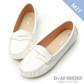 豆豆鞋 D+AF 悠活主張.MIT舒適莫卡辛豆豆鞋*白