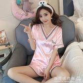 真絲睡衣女套裝韓版可愛寬鬆可外穿絲綢短袖冰絲兩件套  歐韓流行館