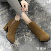 粗跟短靴 女2019新款高跟靴子英倫馬丁靴秋東款鞋子女鞋韓版 BT14165『優童屋』