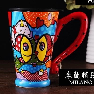 彩繪馬克杯-手工繪製大容量附蓋陶瓷咖啡杯3色72ax8【時尚巴黎】