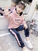 金絲絨套裝女童春秋裝2018新款時髦潮兒童洋氣韓版運動兩件套大學T