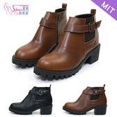短靴.台灣製MIT.側U鬆緊繞飾中跟短靴.黑/咖啡【鞋鞋俱樂部】【028-2691】