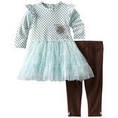 2件組長袖雪紗澎裙套裝: 水藍小花: LM-1057