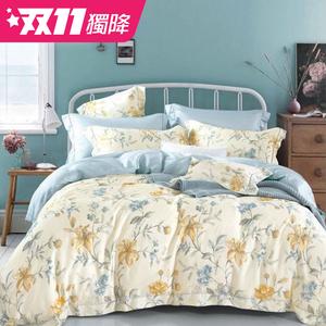 【貝兒居家寢飾生活館】100%萊賽爾天絲兩用被床包組(雙人/醉花都)