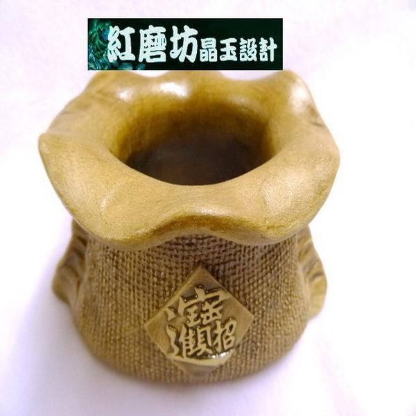 【Ruby工作坊】「甕10X 8XH7CM +招財符」NO.11M陶錢袋中聚寶盆(加持祈福)