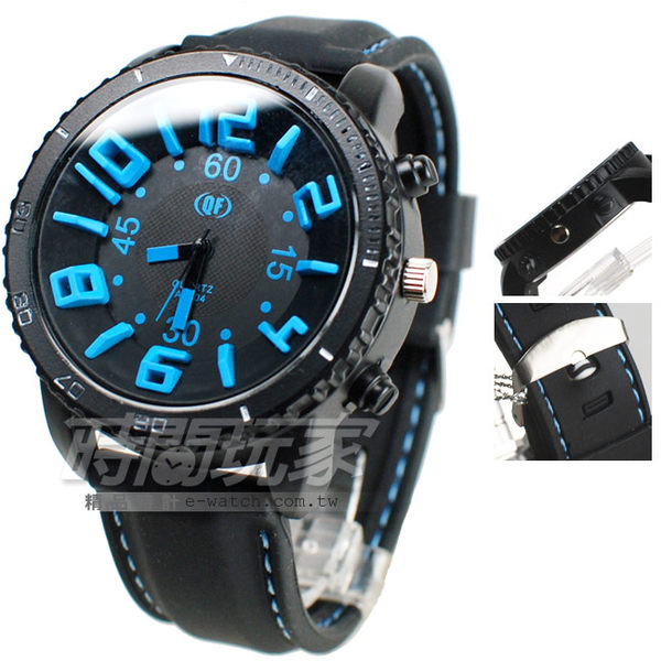 QF 清楚大錶面 數字錶 酷炫配色 男錶 A1604淺藍 大錶 大錶徑 男錶 中性錶 女錶 防水手錶 橡膠錶帶