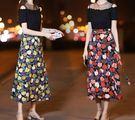 春夏新品氣質印花拼接洋裝連身裙(兩色/五碼可選)