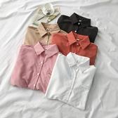 長袖polo衫 素色長袖白襯衫春季新款女韓版設計感小眾polo領秋冬打底上衣 618搶購