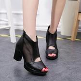 粗跟高跟羅馬鞋子 魚口涼鞋 網紗涼鞋《小師妹》sm293