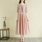 洋裝 復古風文藝棉麻連身裙夏季超長款氣質亞麻料刺繡長裙子寬鬆森女系-Ballet朵朵