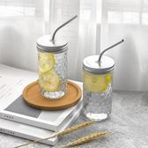 正韓菱形帶吸管玻璃水瓶個性飲料果汁餐飲檸檬咖啡廳簡約透明杯子 萬聖節禮物