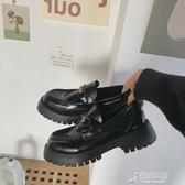 樂福鞋 春季新款網紅英倫風軟底樂福鞋女單鞋厚底松糕小皮鞋黑色鞋子 原本良品